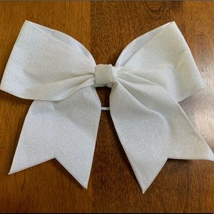 Accessories - White Glitter Cheer/Dance Bow